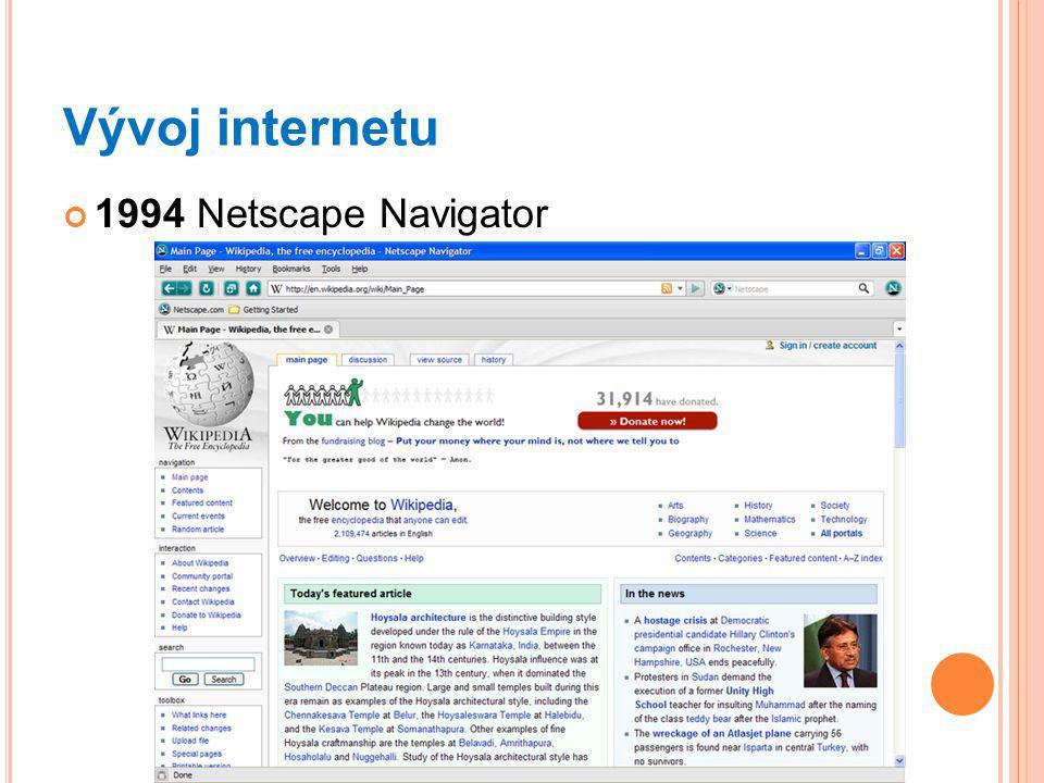 Vývoj internetu 1994 Netscape Navigator