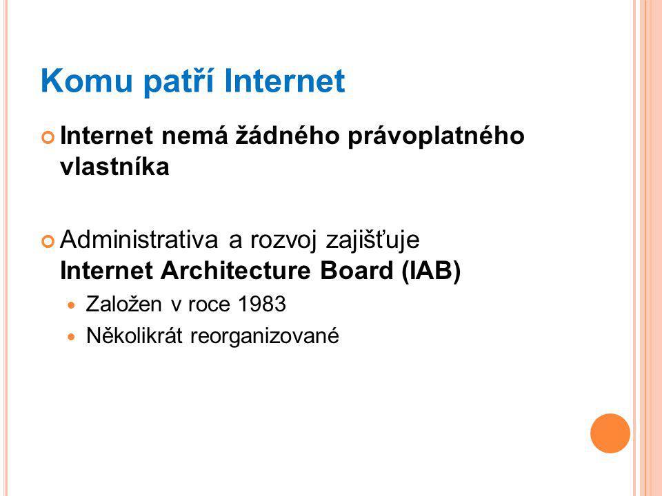 Komu patří Internet Internet nemá žádného právoplatného vlastníka