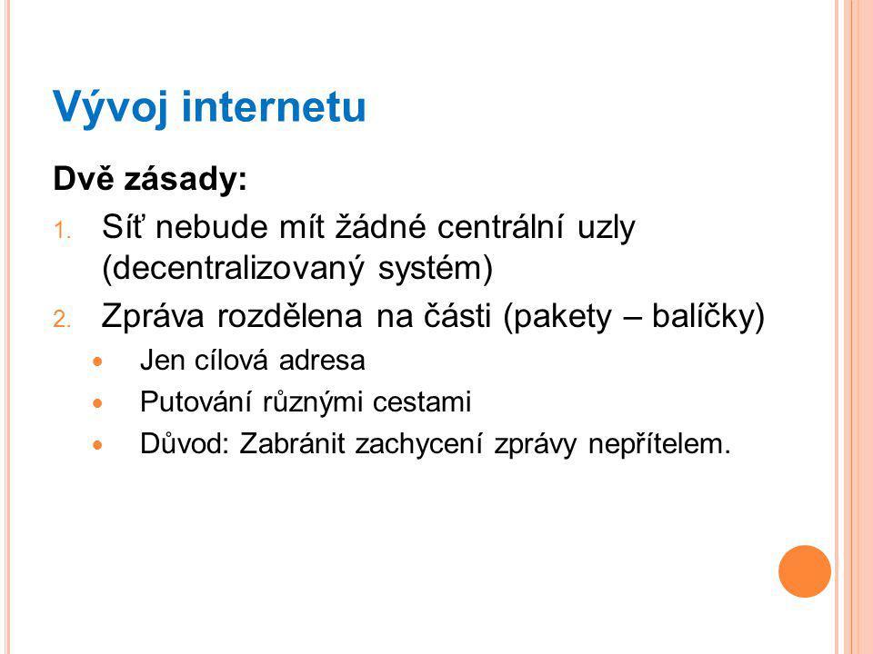 Vývoj internetu Dvě zásady: