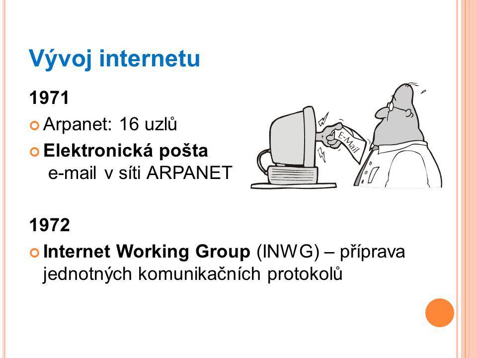 Vývoj internetu 1971 Arpanet: 16 uzlů