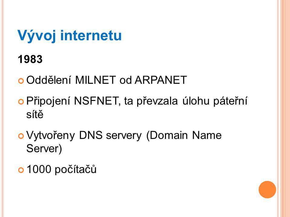Vývoj internetu 1983 Oddělení MILNET od ARPANET
