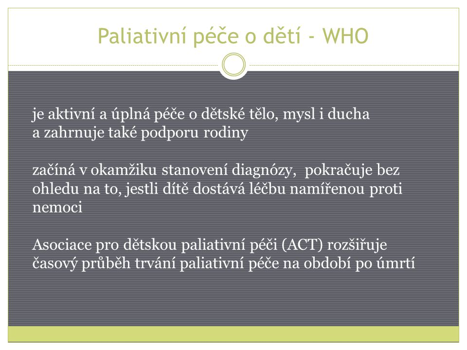 Paliativní péče o dětí - WHO