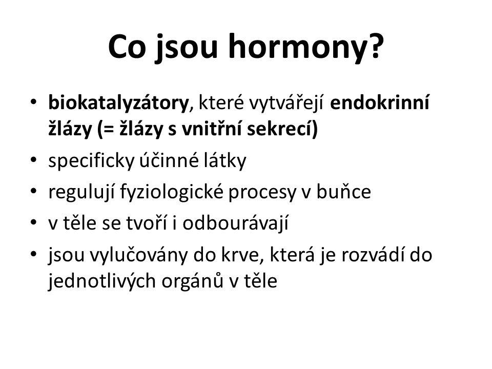 Co jsou hormony biokatalyzátory, které vytvářejí endokrinní žlázy (= žlázy s vnitřní sekrecí) specificky účinné látky.