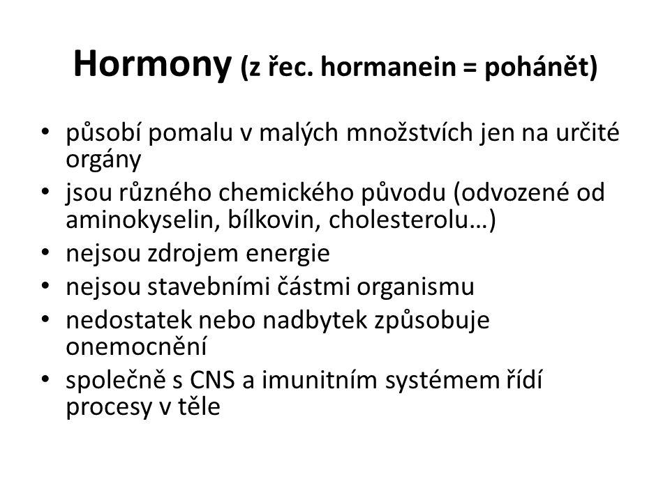 Hormony (z řec. hormanein = pohánět)