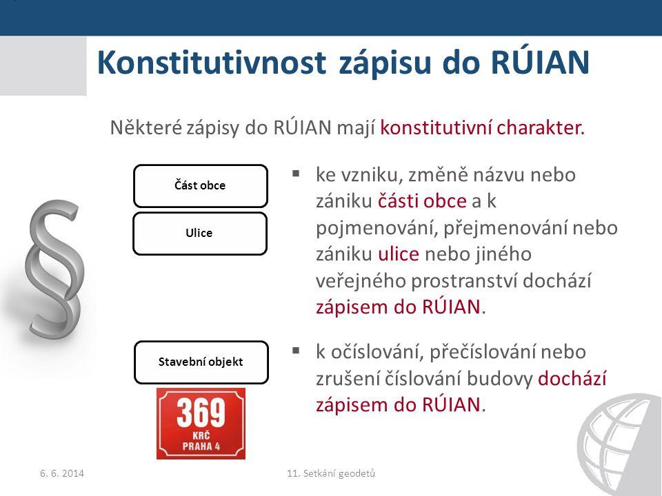 Konstitutivnost zápisu do RÚIAN