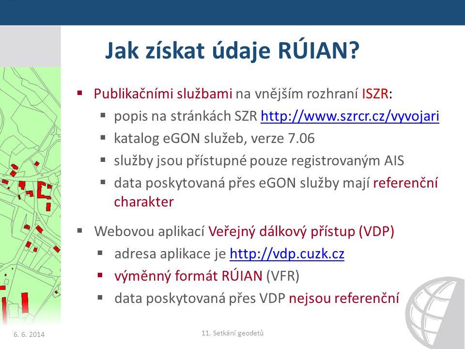 Jak získat údaje RÚIAN Publikačními službami na vnějším rozhraní ISZR: popis na stránkách SZR http://www.szrcr.cz/vyvojari.