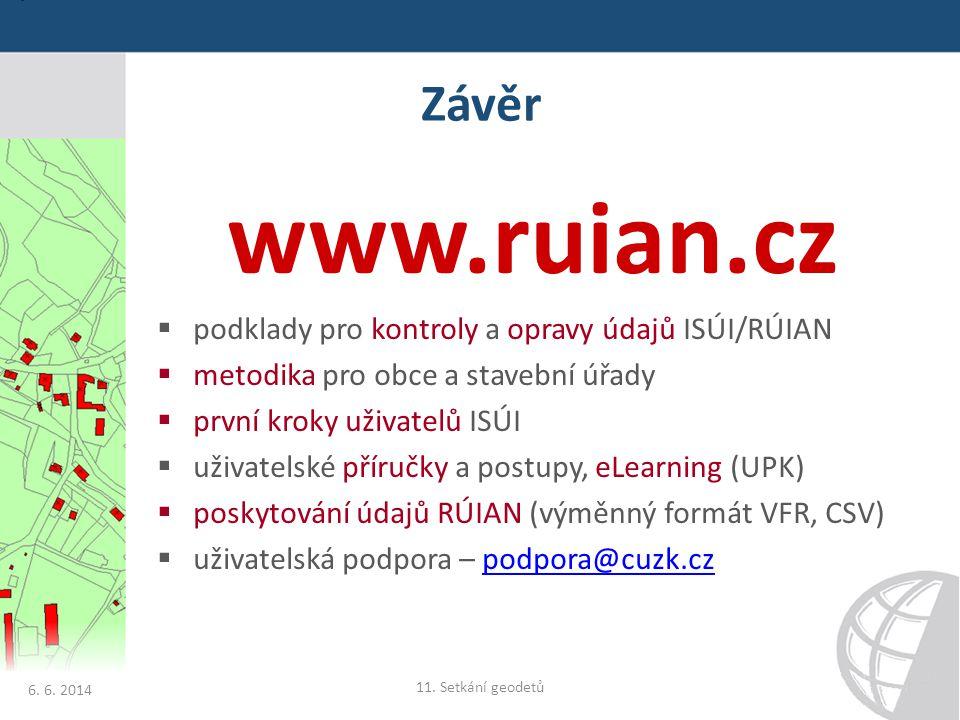 www.ruian.cz Závěr podklady pro kontroly a opravy údajů ISÚI/RÚIAN