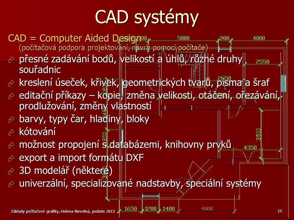 CAD systémy CAD = Computer Aided Design (počítačová podpora projektování, návrh pomocí počítače)