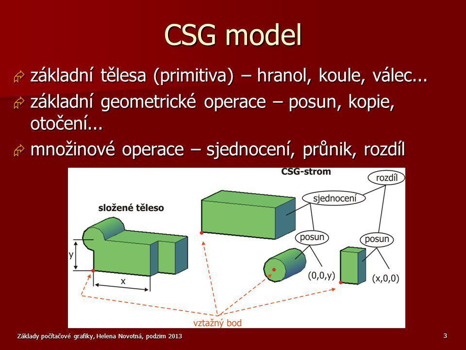 CSG model základní tělesa (primitiva) – hranol, koule, válec...