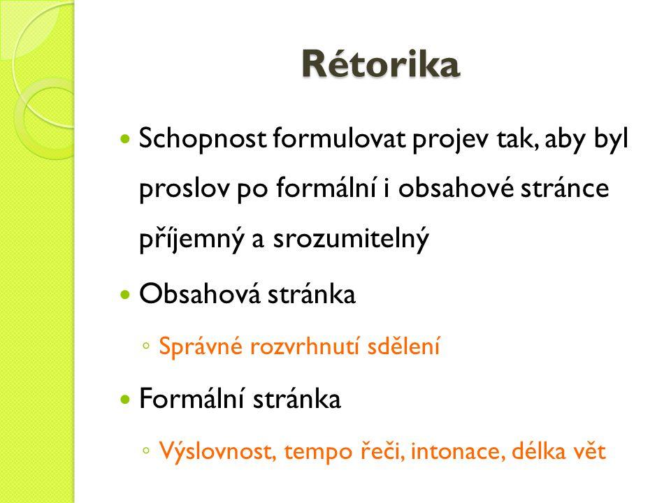 Rétorika Schopnost formulovat projev tak, aby byl proslov po formální i obsahové stránce příjemný a srozumitelný.