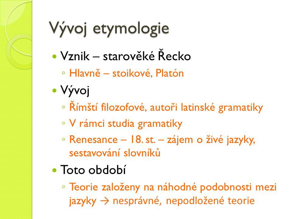Vývoj etymologie Vznik – starověké Řecko Vývoj Toto období