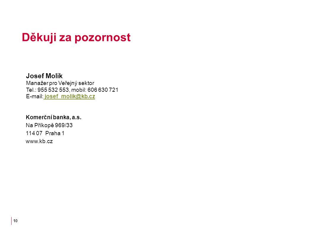 Děkuji za pozornost Josef Molík Manažer pro Veřejný sektor