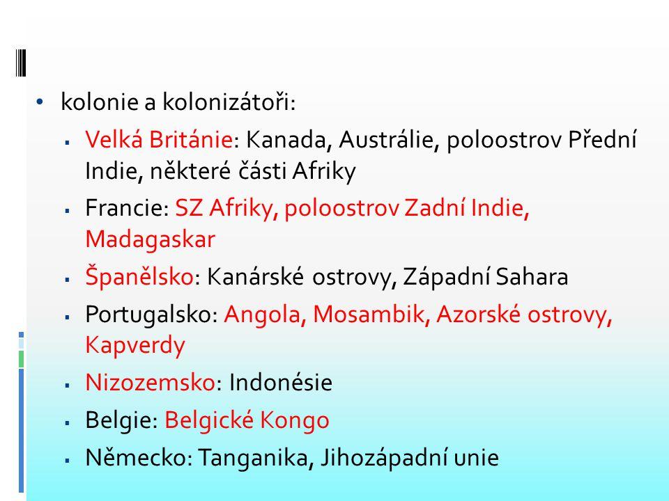 kolonie a kolonizátoři: