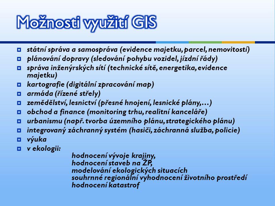 Možnosti využití GIS státní správa a samospráva (evidence majetku, parcel, nemovitostí) plánování dopravy (sledování pohybu vozidel, jízdní řády)