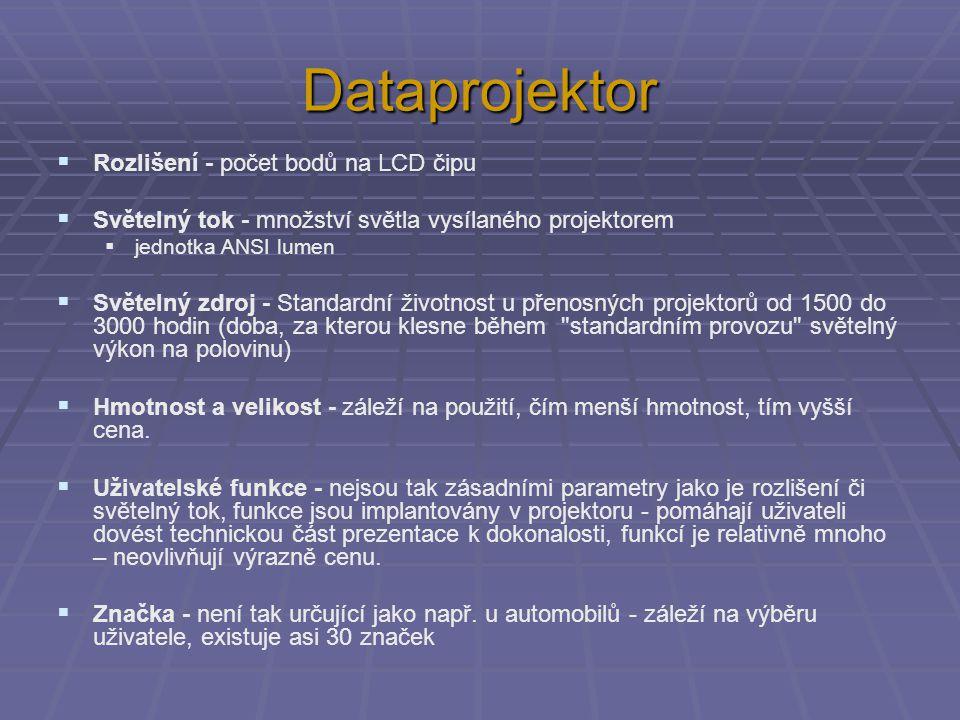 Dataprojektor Rozlišení - počet bodů na LCD čipu