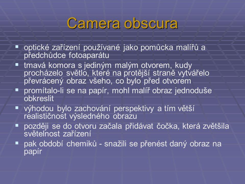 Camera obscura optické zařízení používané jako pomůcka malířů a předchůdce fotoaparátu.