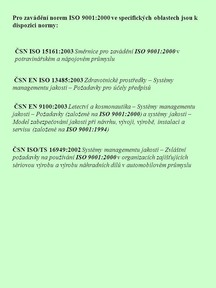 Pro zavádění norem ISO 9001:2000 ve specifických oblastech jsou k dispozici normy: