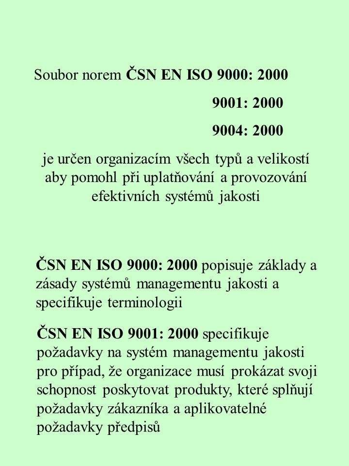 Soubor norem ČSN EN ISO 9000: 2000