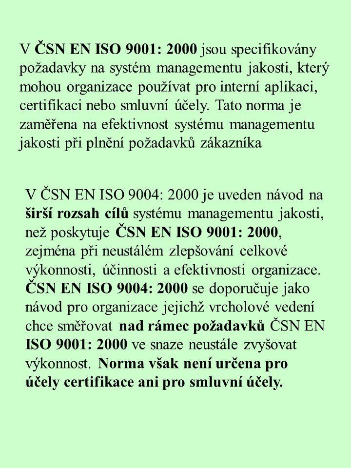V ČSN EN ISO 9001: 2000 jsou specifikovány požadavky na systém managementu jakosti, který mohou organizace používat pro interní aplikaci, certifikaci nebo smluvní účely. Tato norma je zaměřena na efektivnost systému managementu jakosti při plnění požadavků zákazníka