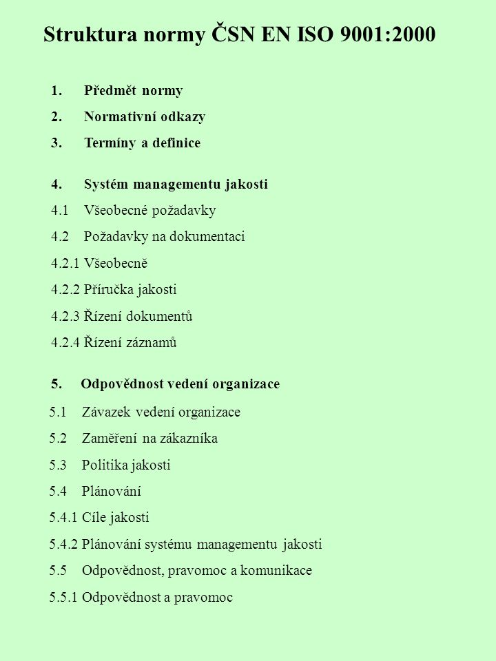 Struktura normy ČSN EN ISO 9001:2000