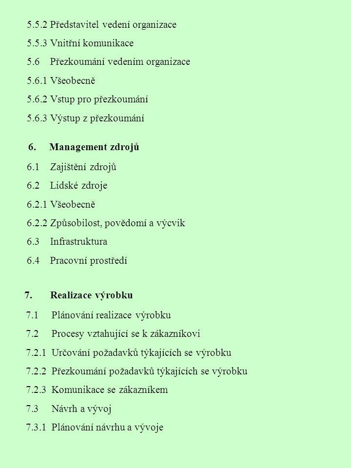 6. Management zdrojů 7. Realizace výrobku