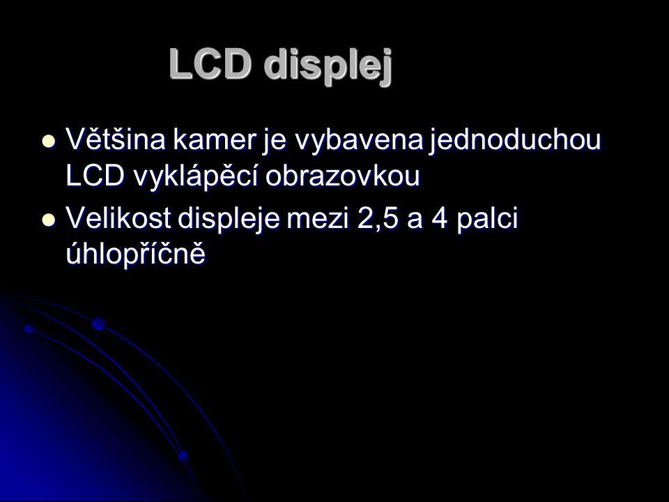 LCD displej Většina kamer je vybavena jednoduchou LCD vyklápěcí obrazovkou. Velikost displeje mezi 2,5 a 4 palci úhlopříčně.