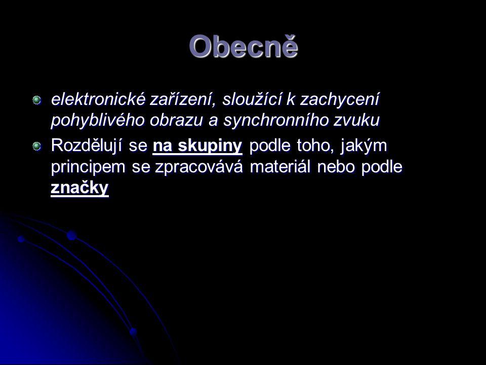 Obecně elektronické zařízení, sloužící k zachycení pohyblivého obrazu a synchronního zvuku.