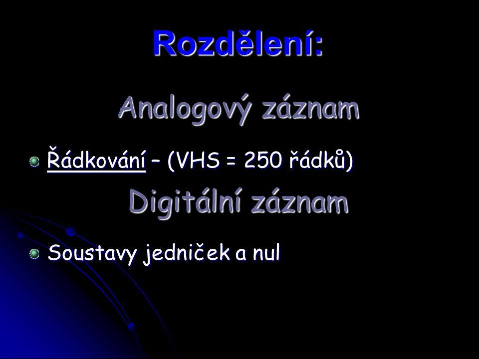Rozdělení: Analogový záznam Digitální záznam