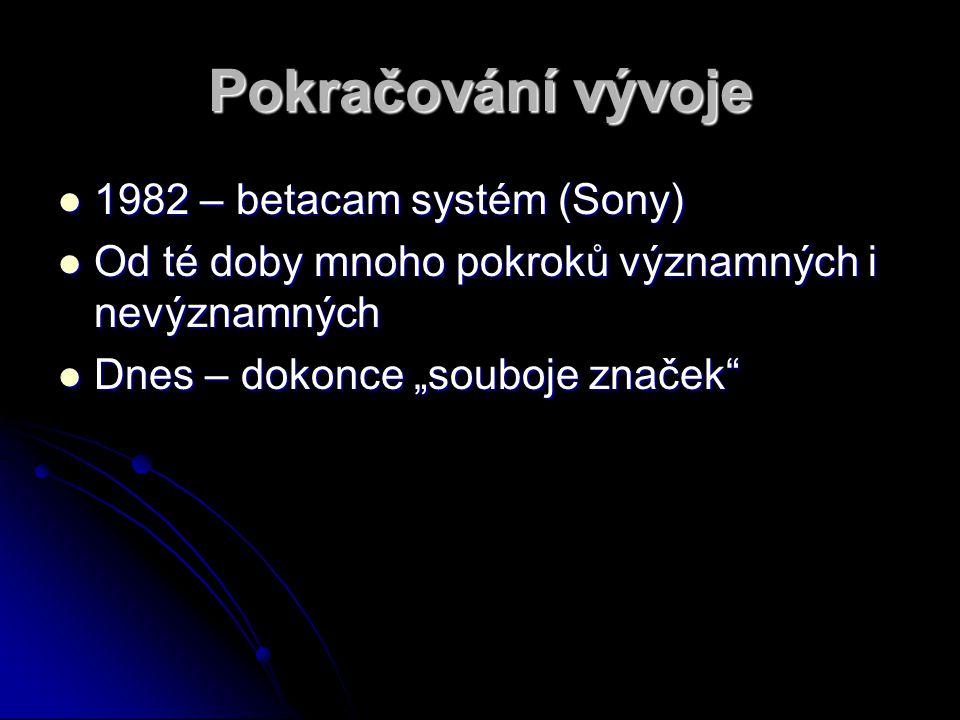Pokračování vývoje 1982 – betacam systém (Sony)