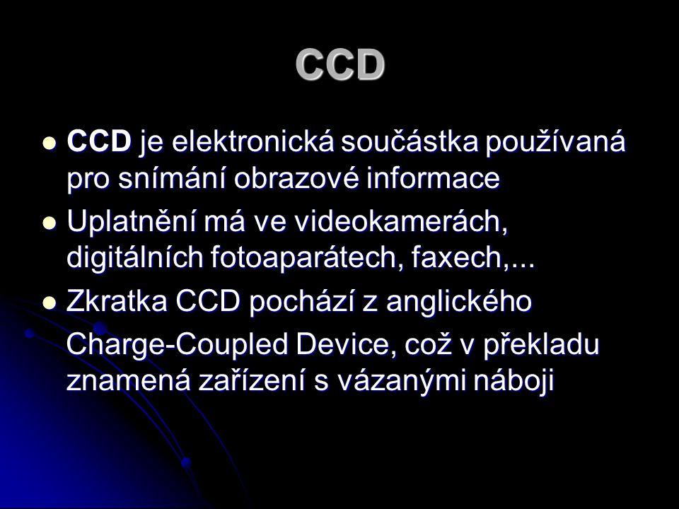 CCD CCD je elektronická součástka používaná pro snímání obrazové informace. Uplatnění má ve videokamerách, digitálních fotoaparátech, faxech,...