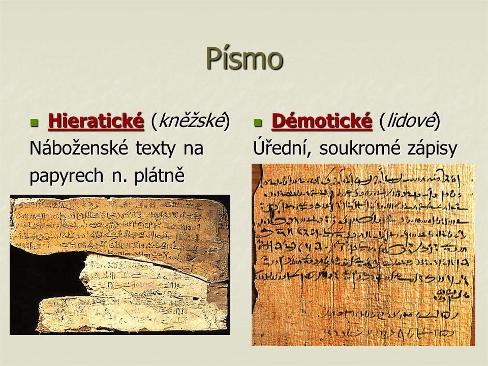 Písmo Hieratické (kněžské) Náboženské texty na papyrech n. plátně