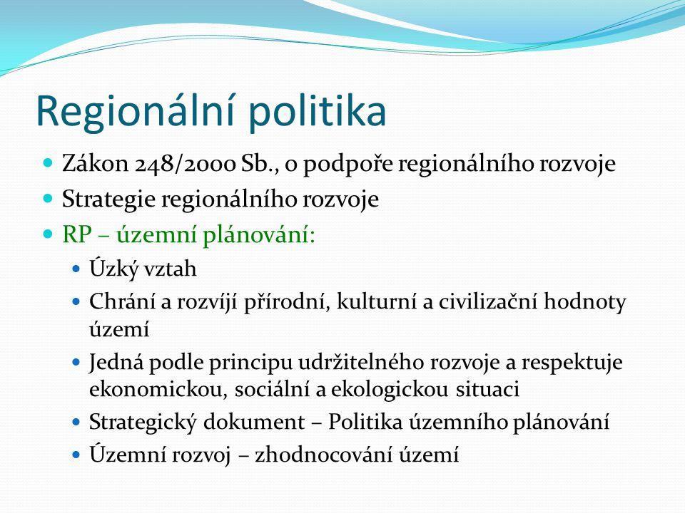 Regionální politika Zákon 248/2000 Sb., o podpoře regionálního rozvoje
