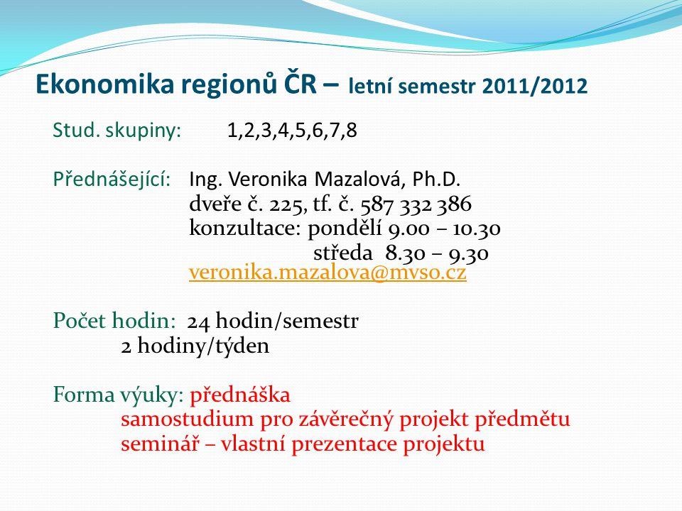Ekonomika regionů ČR – letní semestr 2011/2012