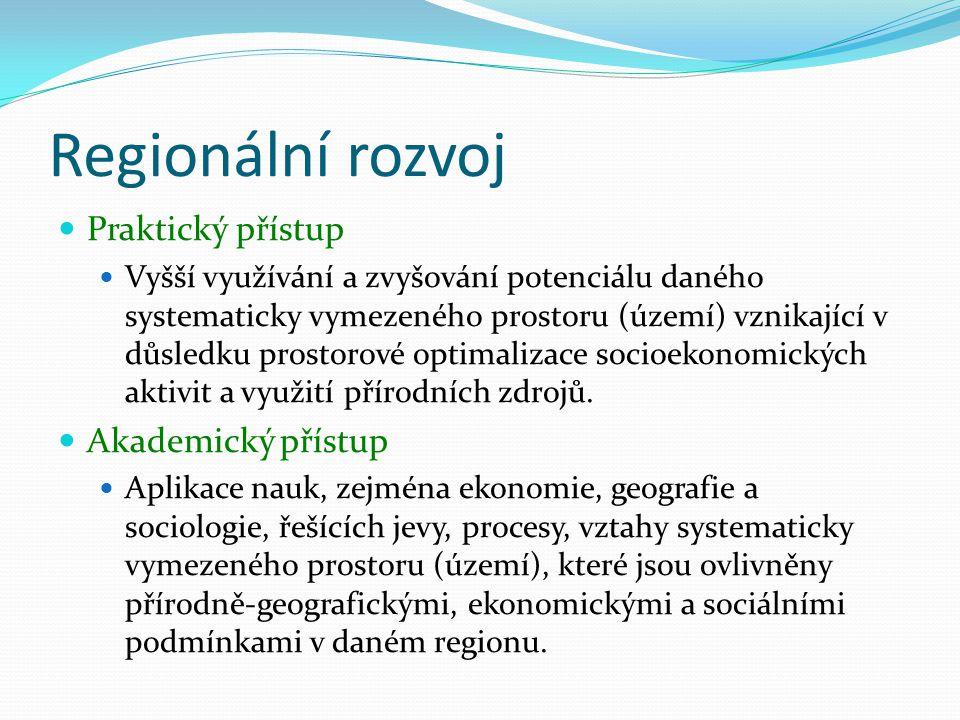 Regionální rozvoj Praktický přístup Akademický přístup