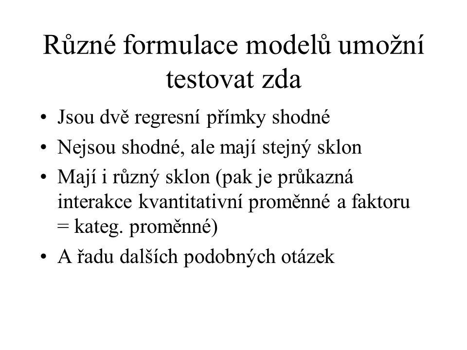Různé formulace modelů umožní testovat zda