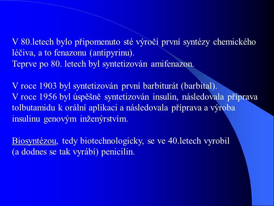 V 80.letech bylo připomenuto sté výročí první syntézy chemického léčiva, a to fenazonu (antipyrinu).