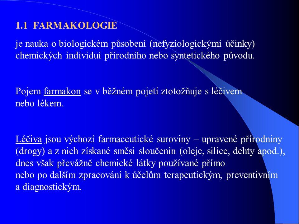 1.1 FARMAKOLOGIE je nauka o biologickém působení (nefyziologickými účinky) chemických individuí přírodního nebo syntetického původu.