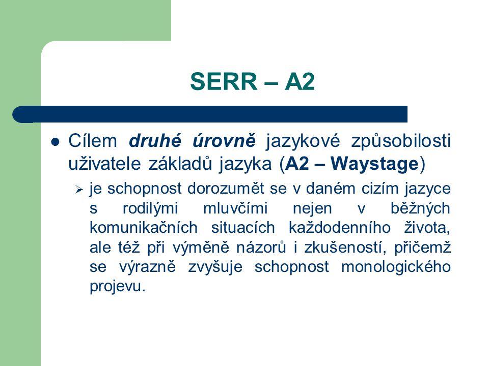 SERR – A2 Cílem druhé úrovně jazykové způsobilosti uživatele základů jazyka (A2 – Waystage)