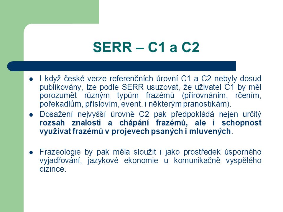 SERR – C1 a C2