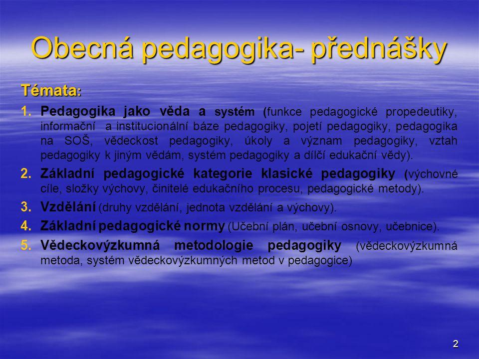 Obecná pedagogika- přednášky