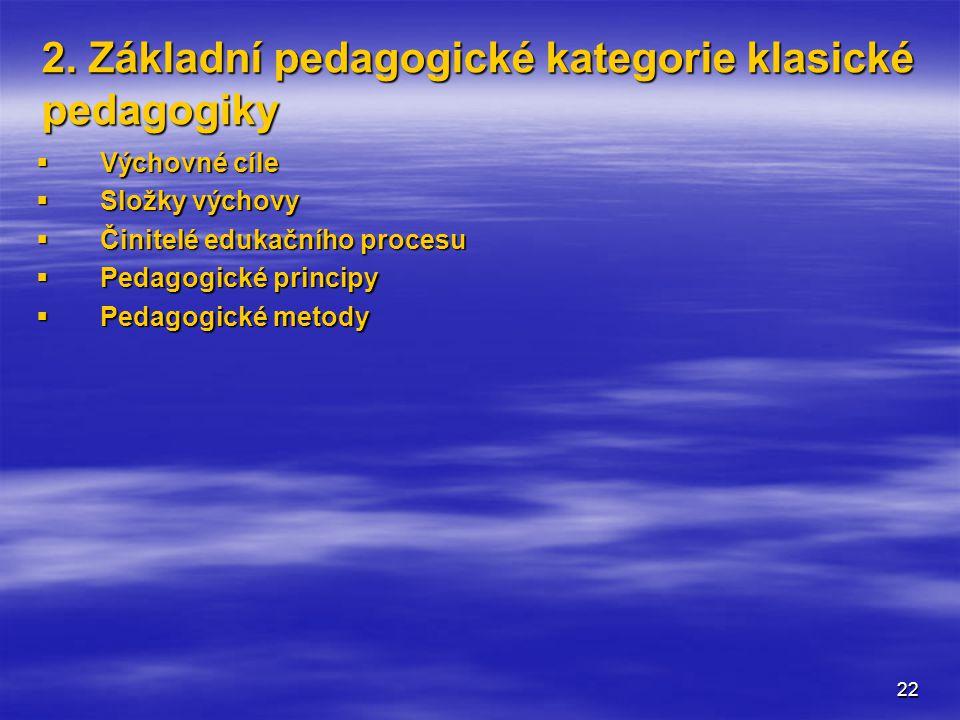 2. Základní pedagogické kategorie klasické pedagogiky
