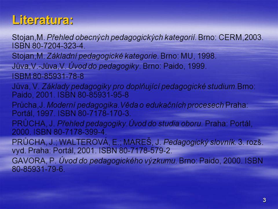 Literatura: Stojan,M. Přehled obecných pedagogických kategorií. Brno: CERM,2003. ISBN 80-7204-323-4.