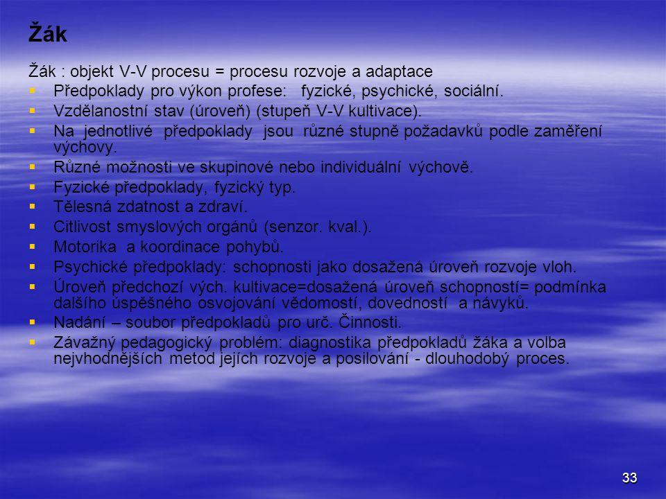 Žák Žák : objekt V-V procesu = procesu rozvoje a adaptace