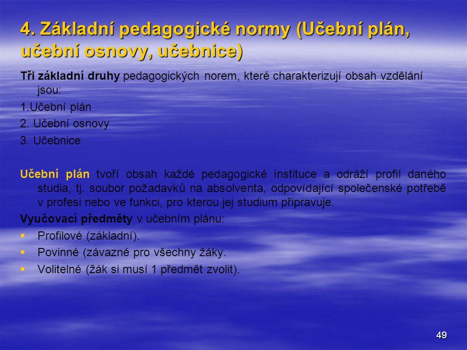 4. Základní pedagogické normy (Učební plán, učební osnovy, učebnice)