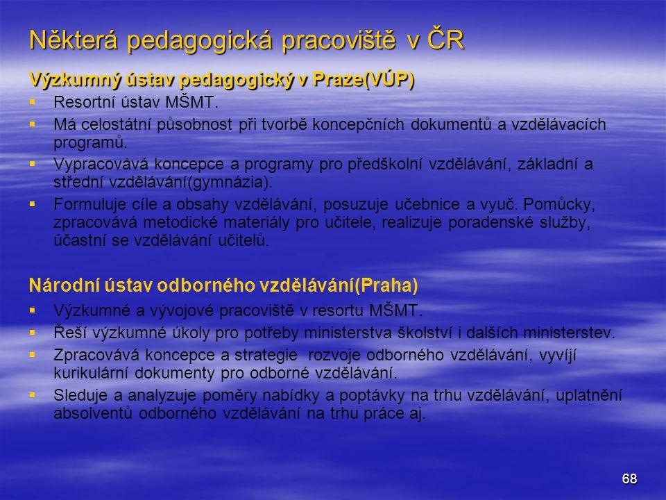 Některá pedagogická pracoviště v ČR