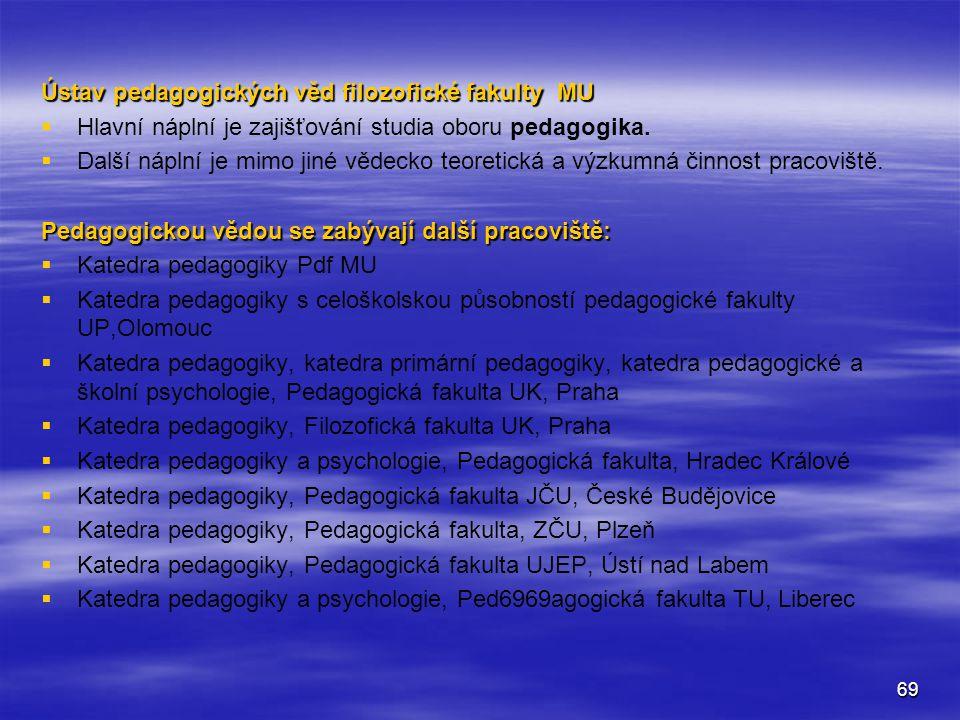 Ústav pedagogických věd filozofické fakulty MU