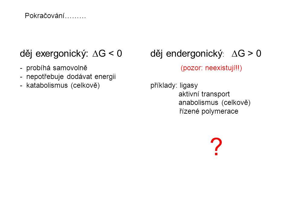 děj exergonický: G < 0 děj endergonický: G > 0
