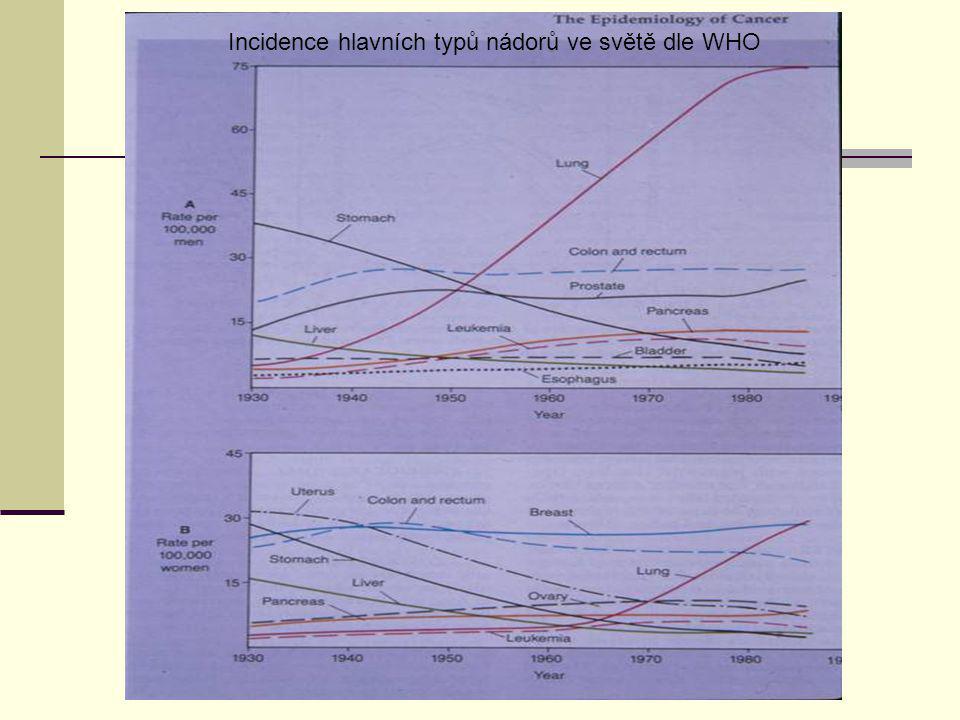 Incidence hlavních typů nádorů ve světě dle WHO