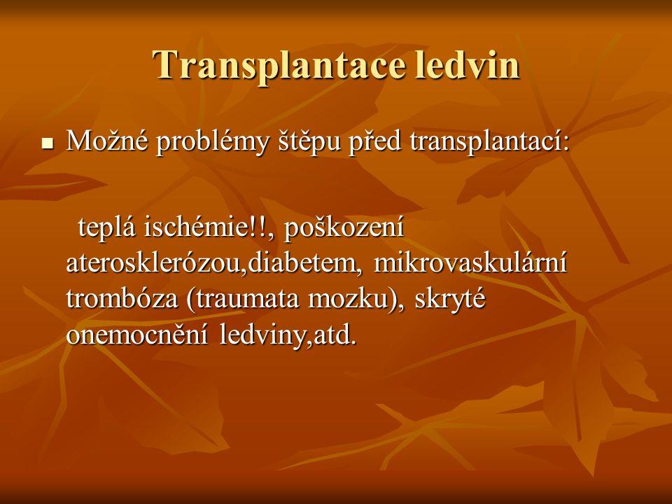 Transplantace ledvin Možné problémy štěpu před transplantací:
