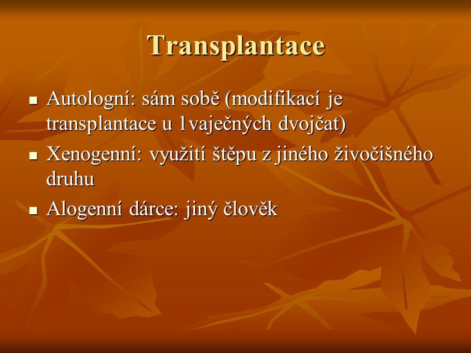 Transplantace Autologní: sám sobě (modifikací je transplantace u 1vaječných dvojčat) Xenogenní: využití štěpu z jiného živočišného druhu.